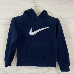 Nike boys 7x pullover hoodie navy white great cond